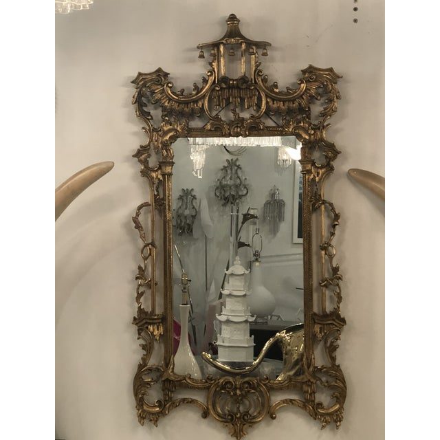 Vintage Chinoiserie Italian Labarge Carved Wood Pagoda Bells Wall Mirror For Sale - Image 10 of 13