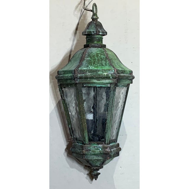 1970s Solid Brass Verdigris Hanging Lantern For Sale In Miami - Image 6 of 13