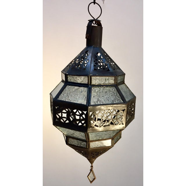 Handcrafted Moroccan Metal and Clear Glass Lantern, Octagonal Shape For Sale - Image 9 of 12