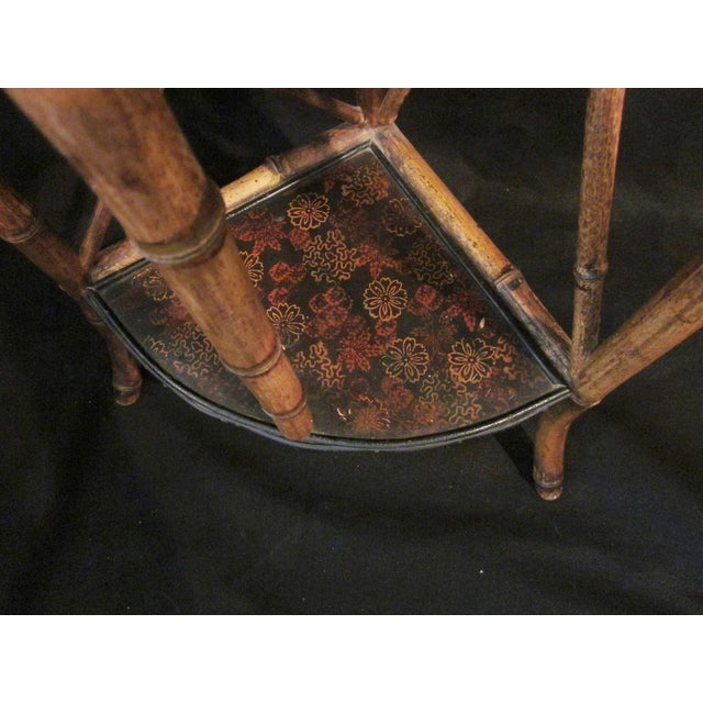 1900s Art Nouveau Bamboo Chinoiserie Etagere Shelving Corner Shelf For Sale In Chicago - Image 6 of 8