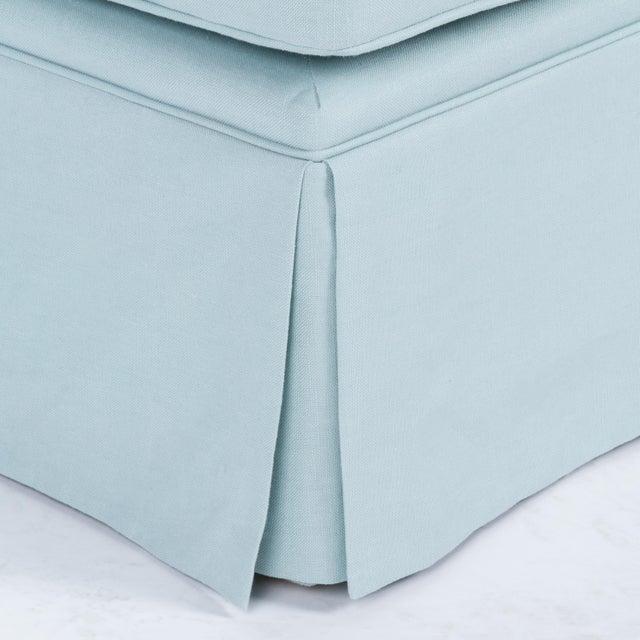 Casa Cosima Skirted Slipper Chair in Porcelain Blue Linen For Sale - Image 4 of 7