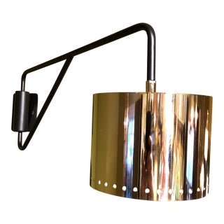 Black & Chrome Shaded Wall Lamp For Sale
