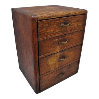20th Century Arts and CraftsTiger Oak 4 Drawer Tool Cabinet For Sale