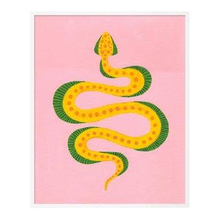 Dumpling the Snake by Willa Heart in White Framed Paper, Medium Art Print For Sale