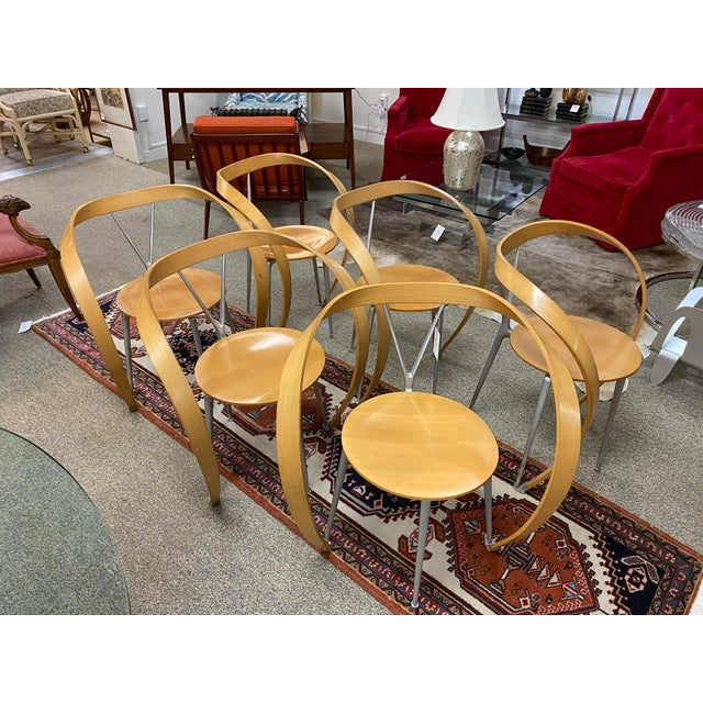 Metal Set of 6 Arm-Chairs Designed by Andrea Branzi for Cassina For Sale - Image 7 of 7