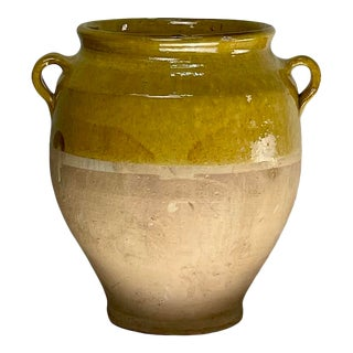 Antique 19th Century French Confit Pot With Yellow Glaze For Sale