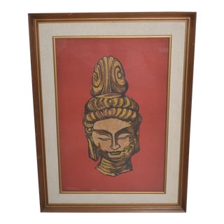 Modern Batik Art Buddha Head Red Gold Chinese For Sale