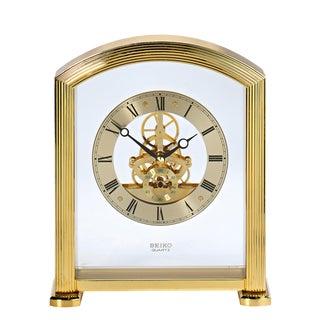 Vintage Seiko Brass 'Floating' Skeleton Mantle Clock For Sale
