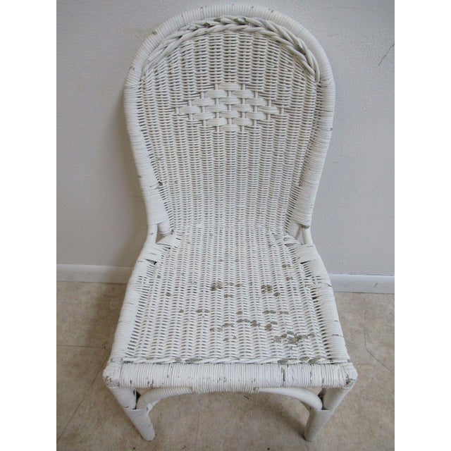 Farmhouse Antique Wicker Outdoor Patio Chair For Sale - Image 3 of 11