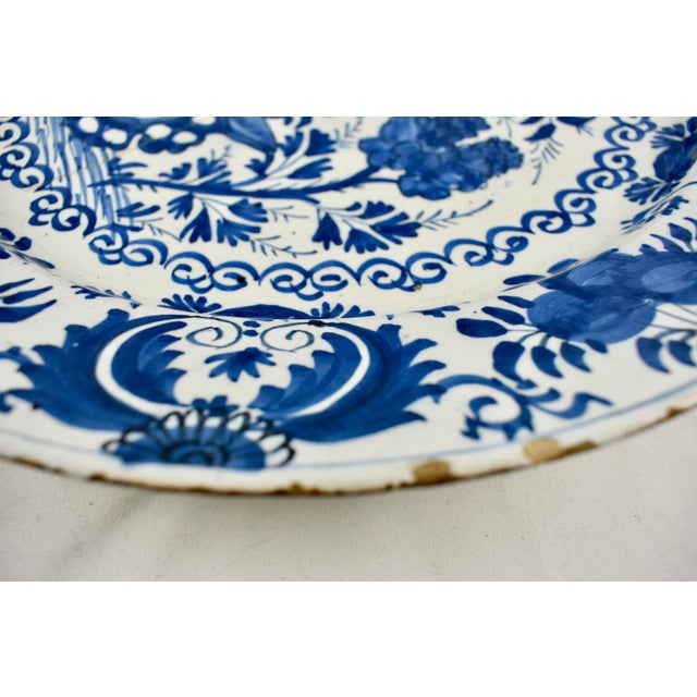 Mid 18th Century 18th C. Dutch Delft Cobalt Blue Floral Faïence Charger For Sale - Image 5 of 11