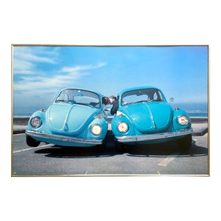 """ Love Bugs "" Vintage 1999 Italian Lithograph Photo Print Framed Volkswagen Beetles Poster For Sale"