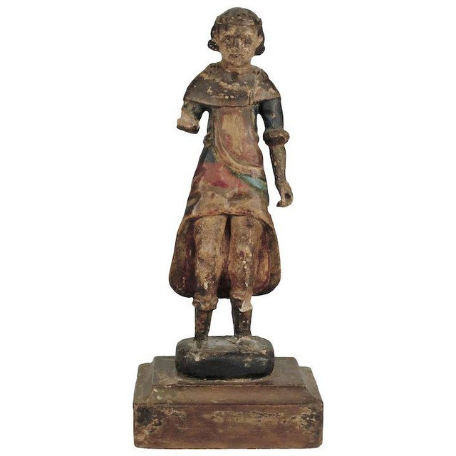 19th Century Carved Wood Youth For Sale - Image 13 of 13