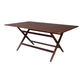 Franco Albini MidCentury Walnut Trestle Table Foldable From 1950s For Sale