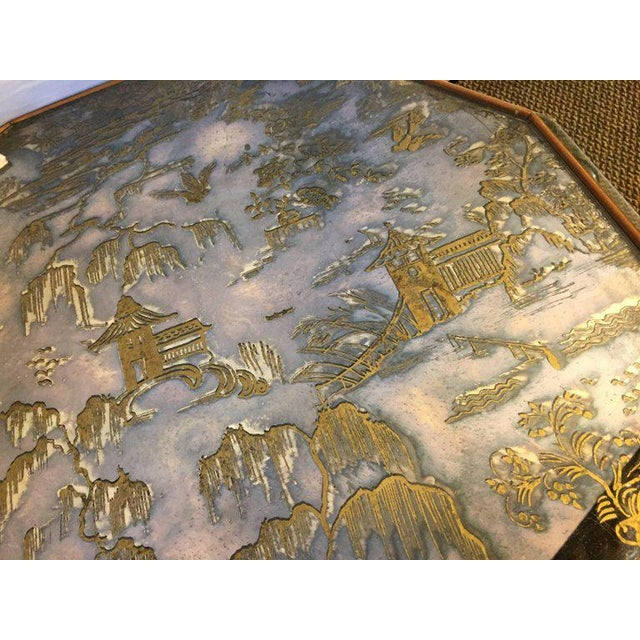 Chinoiserie Style Center Table with Eglomise Glass Top on a Single Pedestal For Sale - Image 4 of 10
