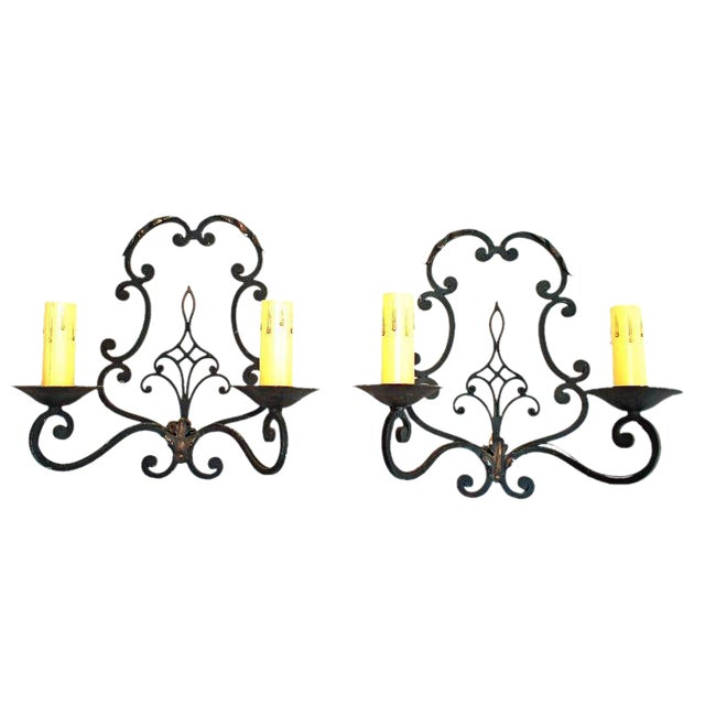 French 1930 Wrought Iron Sconces - a Pair For Sale