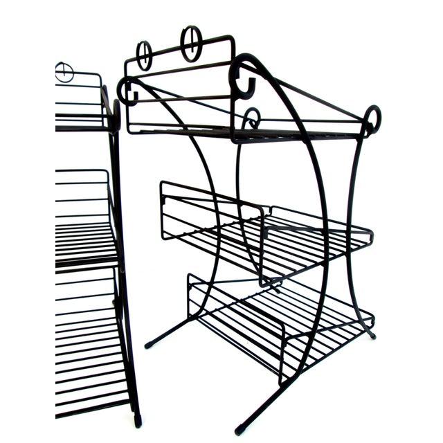 Mid-Century Modern Metal 3-Tiered Wire Indoor/Outdoor Plant Stand ...