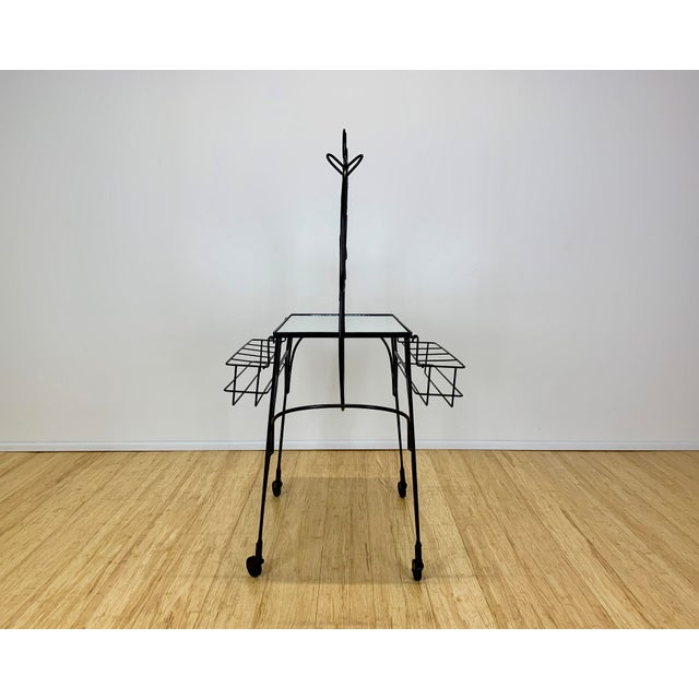 Black 1960s Mid Century John Risley Wire Horse Form Bar Cart For Sale - Image 8 of 11
