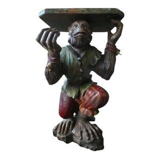 Vintage Italian Venetian Polychromed Hand Carved Wood Monkey Table For Sale