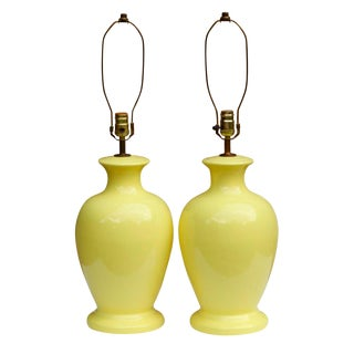 Mid Century Yellow Ceramic Lamps - a Pair