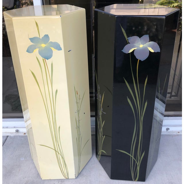 Oriental Hand Painted Pedestals - A Pair For Sale - Image 5 of 9