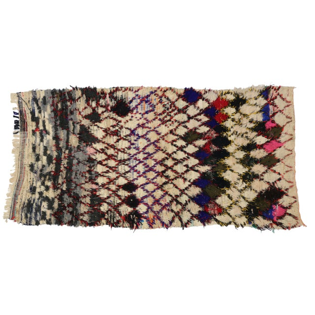 Berber Tribes of Morocco 1980s Vintage Berber Tribes of Morocco Boucherouite Rug - 4′10″ × 9′2″ For Sale - Image 4 of 4