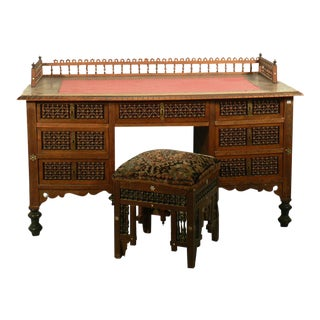 Moroccan Style Desk With Stool, Germany Ca. 1910 For Sale