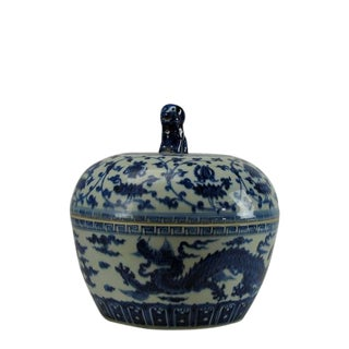 Chinoiserie Blue and White Porcelain Dragon Jar