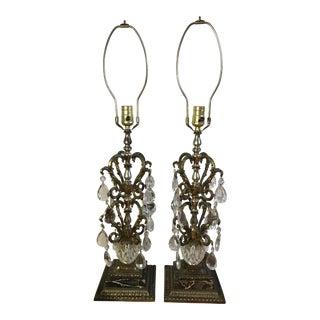 Ornate Regency Crystal & Black Marble Table Lamps - a Pair