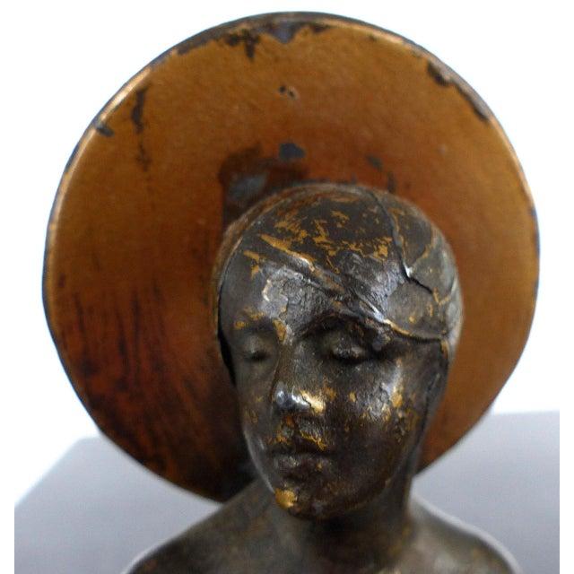 1900s Art Nouveau Cast Spelter & Alabaster Sculpture For Sale - Image 4 of 8
