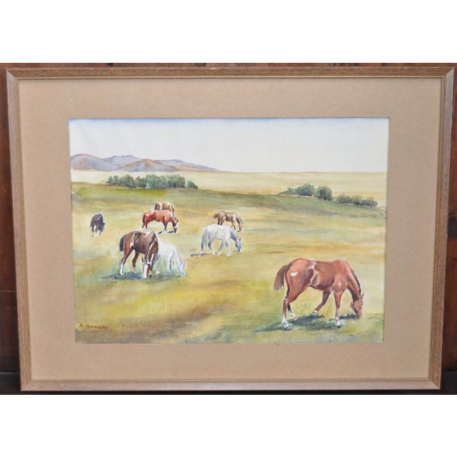 California Landscape with Horses Watercolor - Image 2 of 5