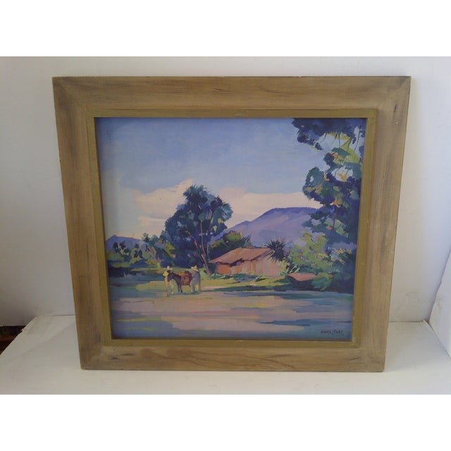 """Original Painting """"Mexican Farm"""" by Hans Paro, Circa 1930 Wood frame. No glass. Ready for display. Very good condition...."""