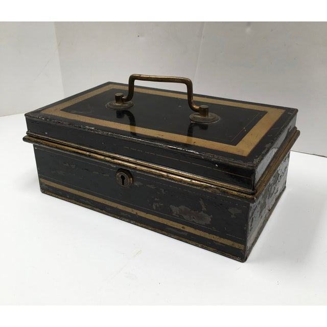 Early 1900s Antique English Metal Cash Box - Image 2 of 11