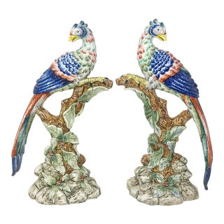 Vintage Italian Mottahedeh Chinoiserie Style Peacock Figures For Sale