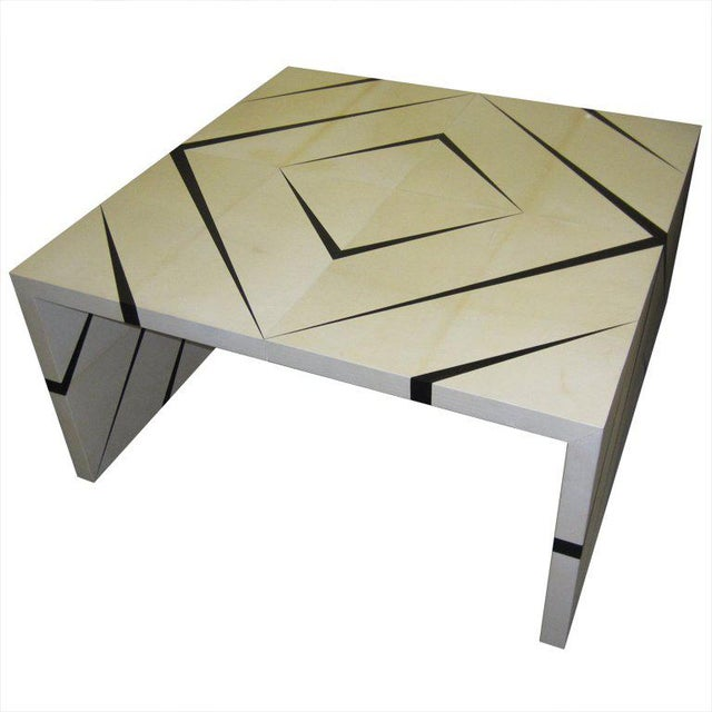 2000s Custom Parchment Enamel Coffee Table For Sale - Image 5 of 5