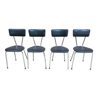 Set of 4 Chrome Steel Frame Dark Gray Faux Leather Mid Century Retro Kitchen Chairs For Sale