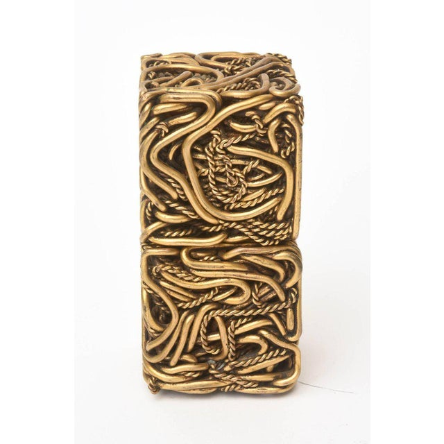 Bronze Pair of Signed Yasca Bronze Twisted Square Cube Sculptures For Sale - Image 7 of 11