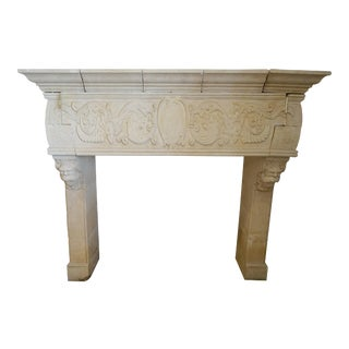 Hand Carved Mantel with Grotesques For Sale