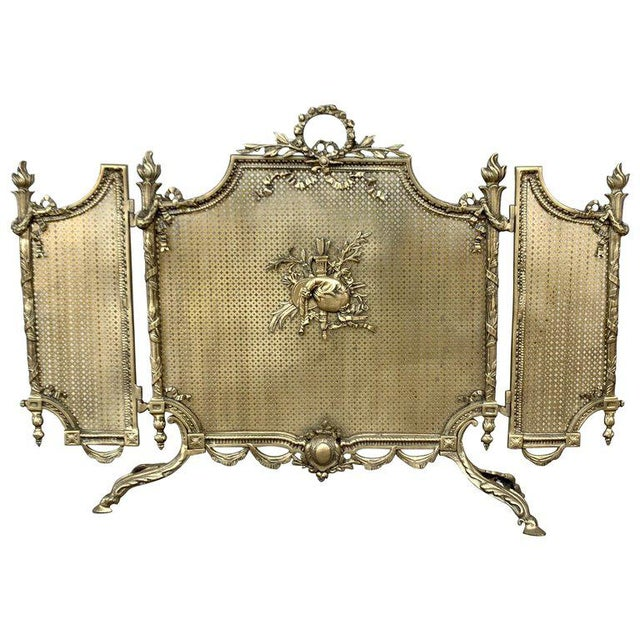 19th Century French Louis XVI Style, Three-Panel Bronze Fire Screen For Sale - Image 9 of 9
