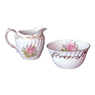 Aynsley Large Pink Roses & Gold Trim Creamer & Sugar Bowl Signed G Bentley - a Pair For Sale