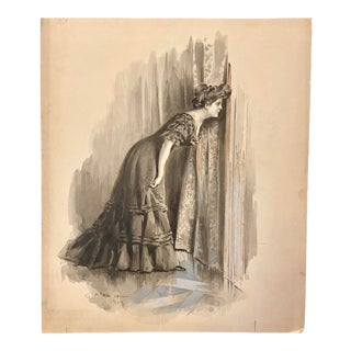 1907 Antique French Mixed-Media Grisaille Illustration of a Woman by Charles Atamian For Sale