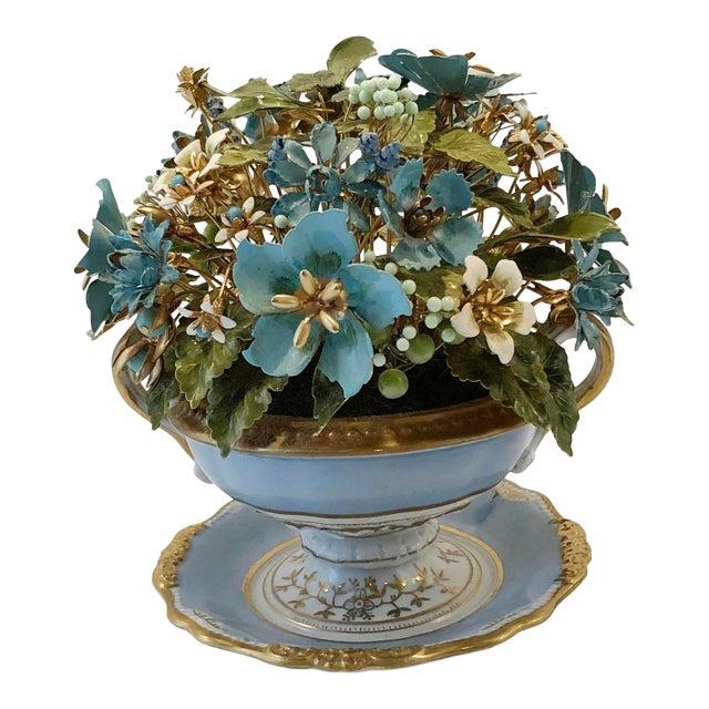 Fleurs Des Siecles in Porcelain Cachepot For Sale