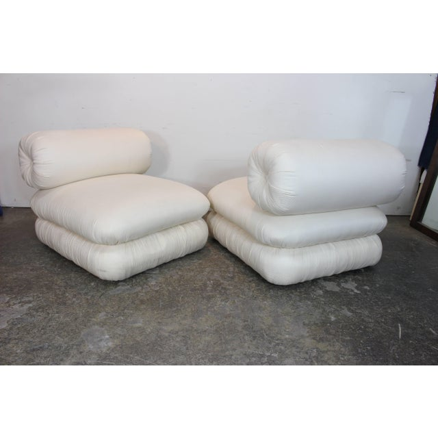 Late 20th Century Pair ofand Sculptural Roll Back Slipper Chairs and Ottomans For Sale - Image 5 of 8