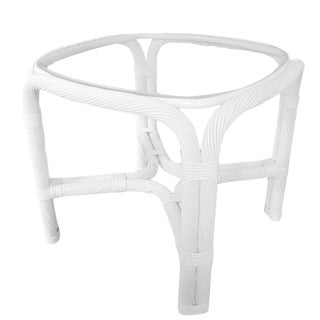 Ficks Reed Style White Rattan & Glass Side Table