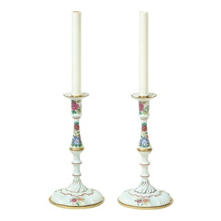 Mario Buatta Battersea Enamel Style Candlestick Lamps - a Pair