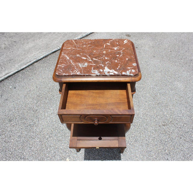 1900s French Louis XV Solid Walnut Nightstand For Sale In Miami - Image 6 of 13