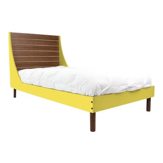 Nico & Yeye Minimo Twin Panel Bed Solid Walnut Wood and Veneers Natural Walnut and Yellow For Sale