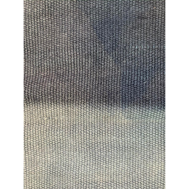 Late 20th Century Late 20th Century Vintage Blue Ombre Turkish Hemp Rug-5′6″ × 7′10″ For Sale - Image 5 of 11