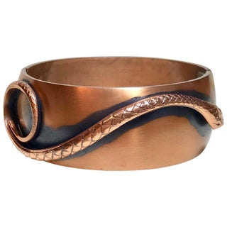 Whiting & Davis Mid-Century Copper Snake Hinged Bangle For Sale