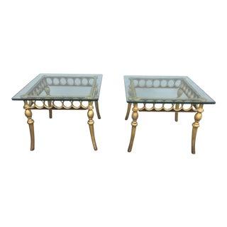 Hollywood Regency Style Aluminum & Glass Tables - A Pair