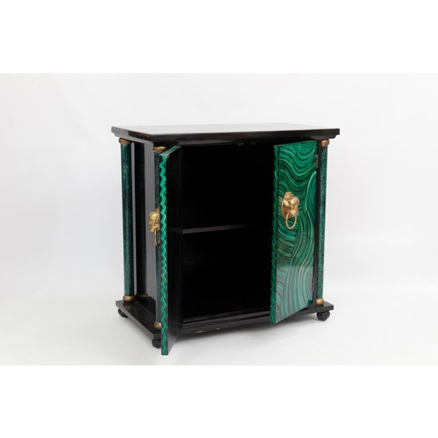 Art Deco Faux Malachite Cabinet For Sale - Image 4 of 5